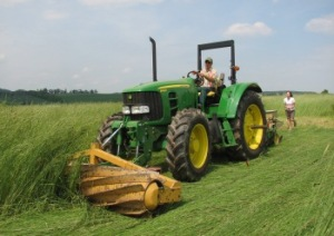 Roller/crimper at work in a no-till organic system Photo from Rodale Institute website